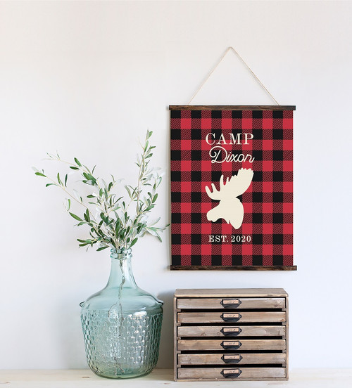 Canvas Wall Hanging Wood Buffalo Plaid Elk Rustic Decor Sign Camp Name- 19x24 Inch