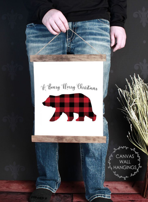 Canvas Wall Hanging Wood Plaid Bear Rustic Decor Sign Beary Christmas- 12x14.5 Inch