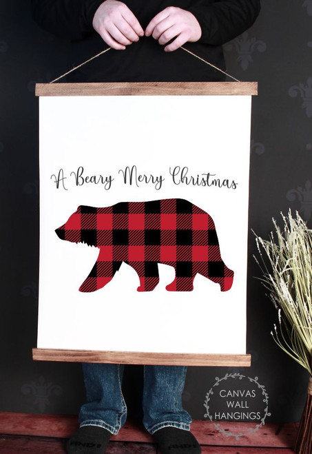 Canvas Wall Hanging Wood Plaid Bear Rustic Decor Sign Beary Christmas- 19x24 Inch
