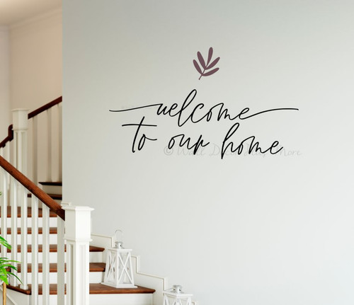 Welcome To Our Home Cursive Wall Words Decal Sticker Leaf Art Wall Decor-Plum, Black