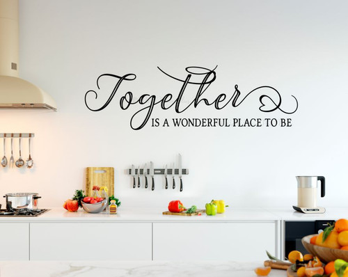 Wall Decal Together Wonderful Place Family Quote Sticker Wall Decor Art-Black