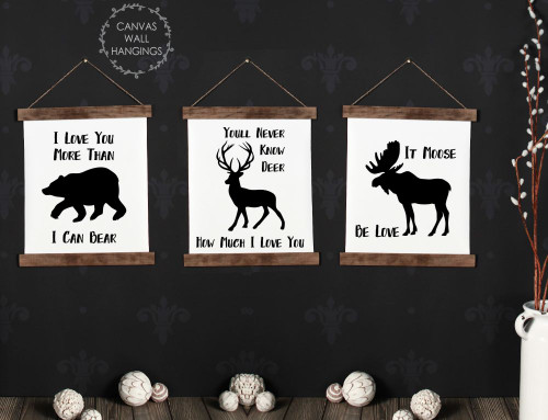 Canvas Wall Hanging Wood Deer Moose Bear Woodland Love Art Signs Set/3 12x14.5 each