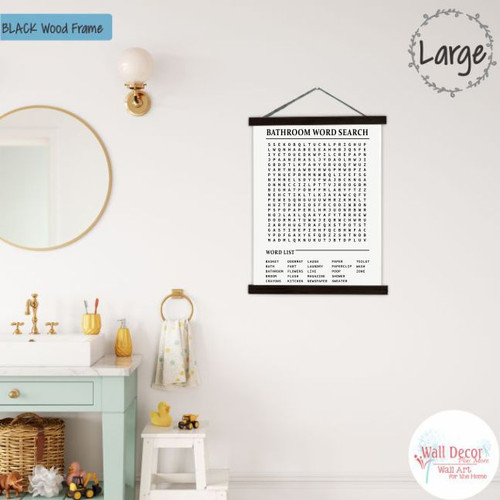 Wood Canvas Wall Hanging Bathroom Word Search Fun Puzzle Sign Wall Decor- 19x24 Blk Wood