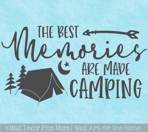 Camper RV Wall Decal Best Memories Made Camping Tent Art Decor Sticker