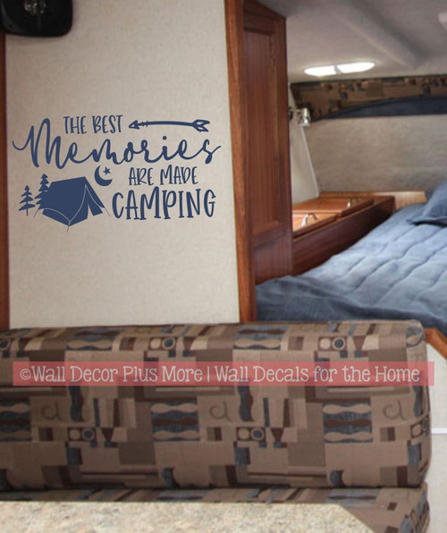 Camper RV Wall Decal Best Memories Made Camping Tent Art Decor Sticker-Deep Blue