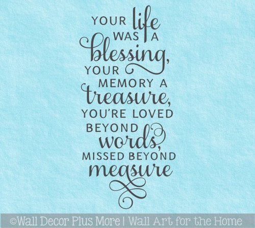 Memorial Wall Decor Sticker Quote Life Blessing Memory Treasure Missed
