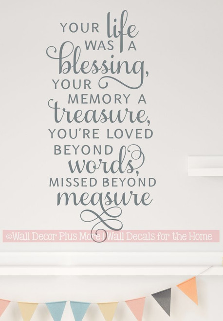 Memorial Wall Decor Sticker Quote Life Blessing Memory Treasure Missed-Storm Gray