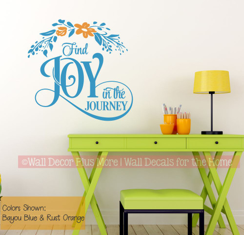 Inspiring Wall Decor Sticker Find Joy In Journey Quote Floral Art Decal-Bayou Blue/Rust Orange