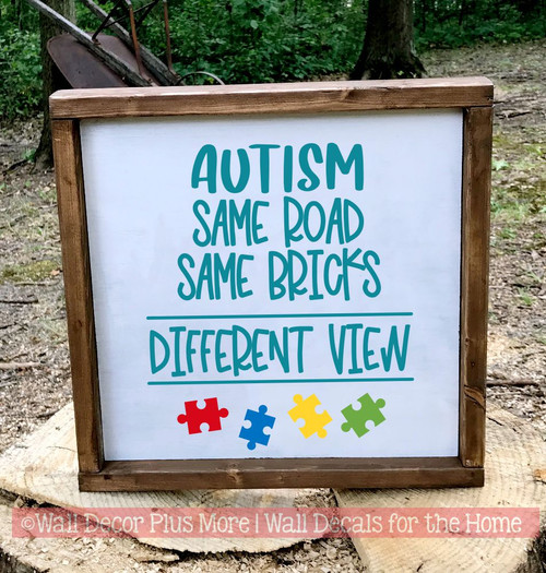 Autism Wall Quote Sticker Same Road Bricks Different View Puzzle Art Decal-Teal