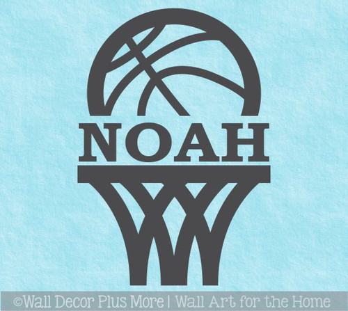 Wall Name Sticker Decal Basketball Hoop Decal Custom Letters Sports Decor