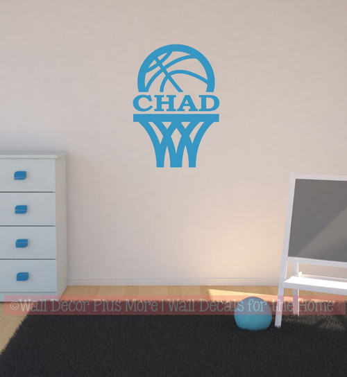 Wall Name Sticker Decal Basketball Hoop Decal Custom Letters Sports Decor-Bayou Blue