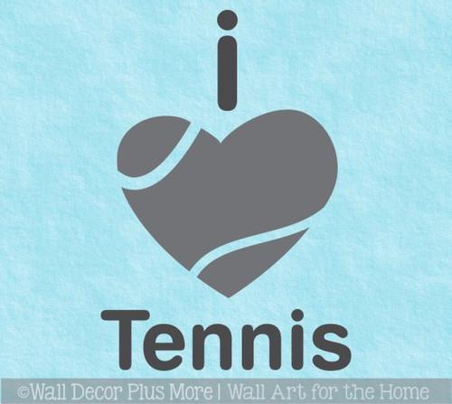 Sports Wall Decal I Heart Tennis Kids Bedroom Cool Decor Sticker Art