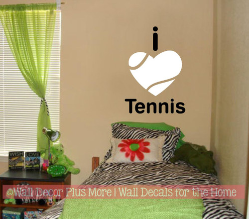 Sports Wall Decal I Heart Tennis Kids Bedroom Cool Decor Sticker Art- Black/White