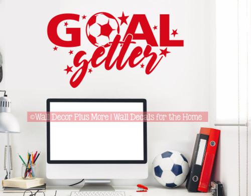 Soccer Wall Decor Sticker Goal Getter Ball Art Decal Kids Sports Decor-Cherry Red