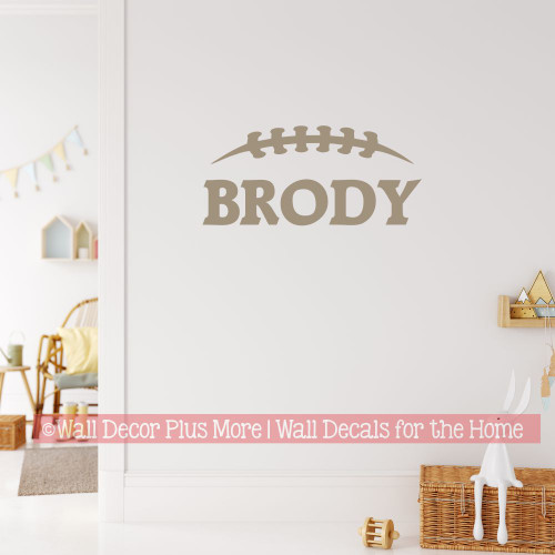 Custom Name Wall Decal Football Laces Boys Decor Sticker Sports Art-Tumbleweed