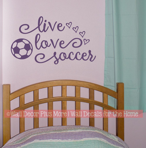 Live Love Soccer Girls Cool Sports Room Decal Sticker Hearts Decor Art-Purple