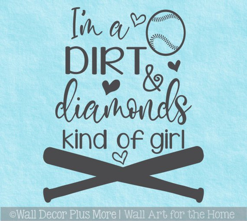 Dirt Diamonds Kind Of Girls Softball Wall Quote Sports Art Decal Sticker