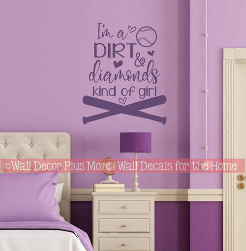 Dirt Diamonds Kind Of Girls Softball Wall Quote Sports Art Decal Sticker-Plum
