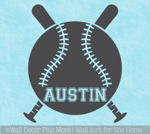 Baseball with Name Custom Lettering Wall Art Sticker Kids Room Decal