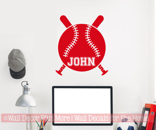Baseball with Name Custom Lettering Wall Art Sticker Kids Room Decal-Cherry Red