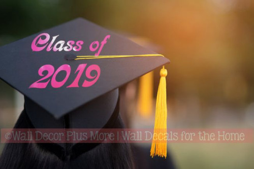 Graduation Hat Decoration Vinyl Decal Sticker for Graduate Mortarboard-Option 3 Hot Pink Class of 2021