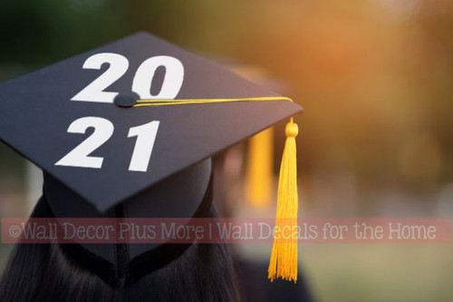 Graduation Hat Decoration Vinyl Decal Sticker for Graduate Mortarboard-Option 5 White Class of 2021