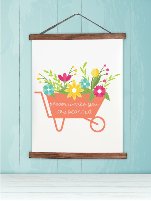 Wood Canvas Wall Hanging Sign Bloom Where Planted Spring Flower Cart Art-19x24