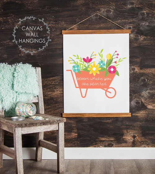 Wood Canvas Wall Hanging Sign Bloom Where Planted Spring Flower Cart Art-23x30