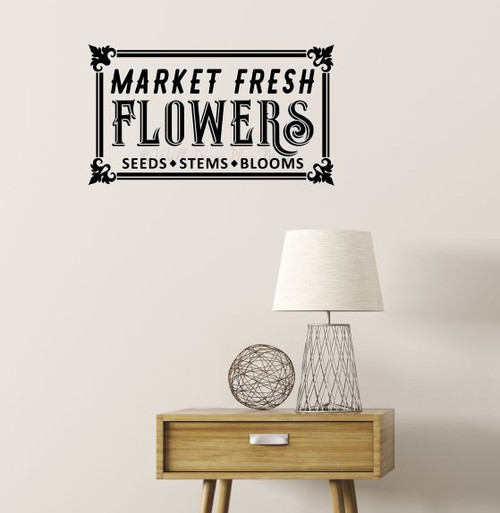 Market Fresh Flowers Garden Wall Decal Art Sticker Vintage Decor Quote-Black