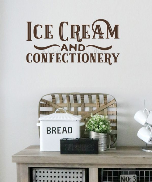 Wall Decal Ice Cream Confectionary Old-Time Lettering Vinyl Sticker Art-Chocolate Brown