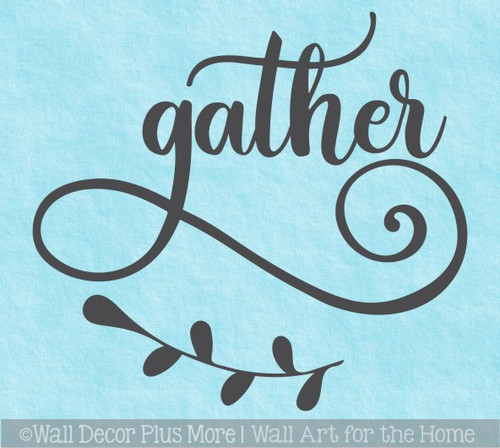 Decal for Circle Wood Sign Gather Floral Art Letters Stencil or Sticker