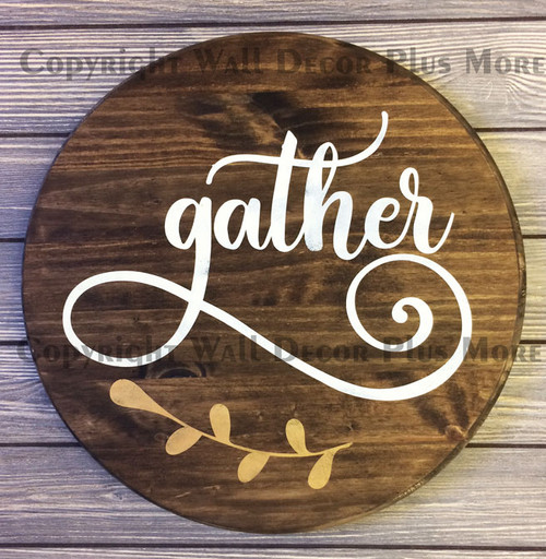 Decal for Circle Wood Sign Gather Floral Art Letters Stencil or Sticker on round sign