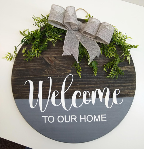 Welcome Decal for Circle Wood Sign To Our Home Art Stencil or Sticker on round sign