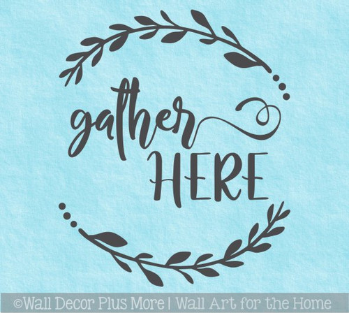 Decal for Circle Wood Sign Gather Here Letters Wreath Stencil or Sticker