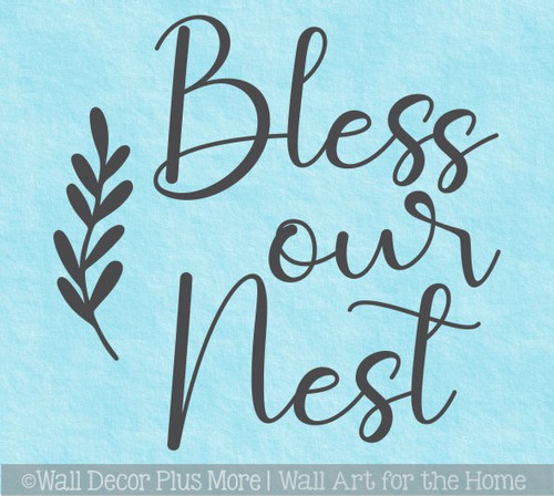 Decal for Round Wood Sign Bless Our Nest Art Letters Stencil, Sticker