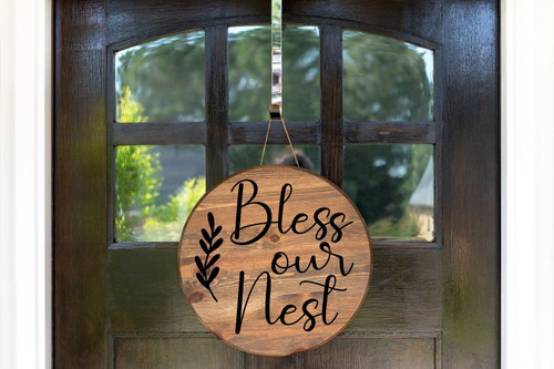 Decal for Round Wood Sign Bless Our Nest Art Letters Stencil, Sticker-Black