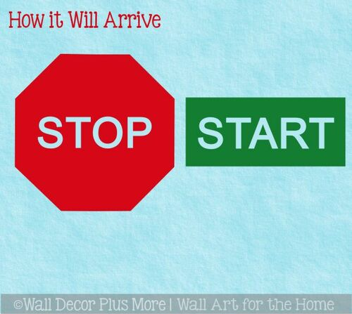 Sensory Path Floor Decal Stickers School Hallway Start Stop Sign Red Green