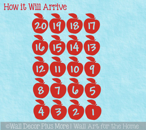 Apple Numbers Sensory Path Floor Decal Stickers for School Hallway WD1944