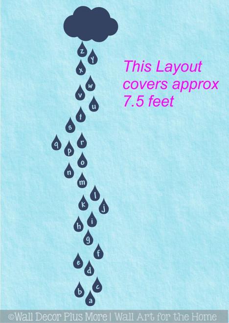 Cloud Rain Drops Alphabet Sensory Path Floor Decal Stickers for School Hallway WD1945 Hop The Drops