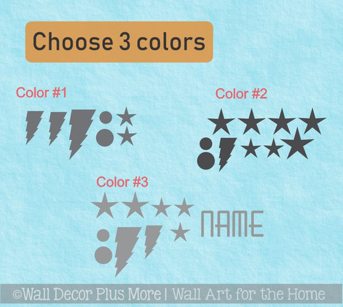 Cranial Helmet Accessory Decal Stickers Baby Boys Name Bolts Dots Stars choose 3 colors