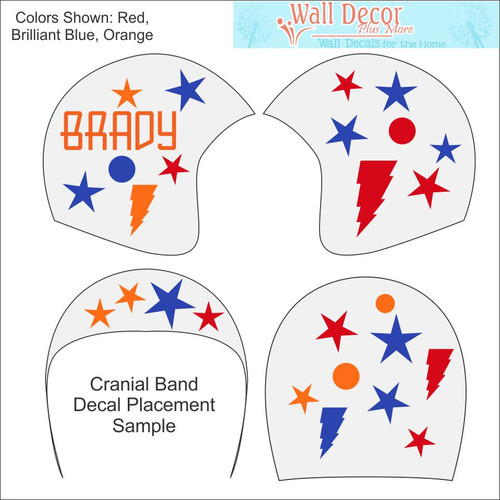 Cranial Helmet Accessory Decal Stickers Baby Boys Name Bolts Dots Stars