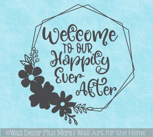 Decal for Round Wood Sign Welcome Happily Ever After Stencil or Sticker