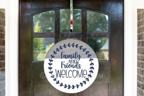 Decal for Round Wood Door Sign Family Friends Welcome Stencil or Sticker-Deep Blue