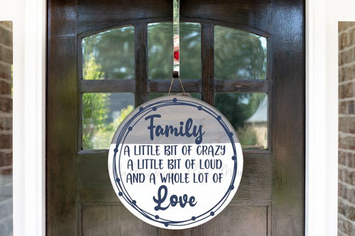 Decal for Round Wood Sign Family Quote Crazy Loud Love Stencil, Sticker-Deep Blue