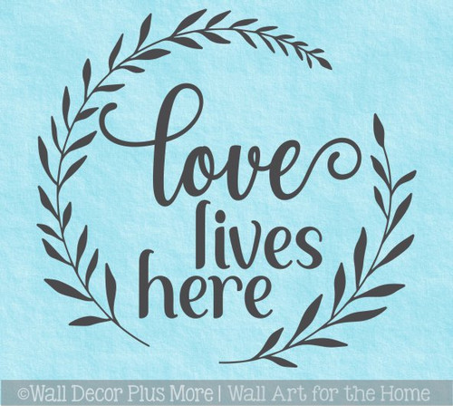 Decal for Circle Wood Sign Love Lives Here Decor Quote Stencil, Sticker