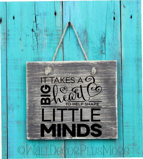SALE Big Heart Shape Little Minds Teacher Wall Decal Quote