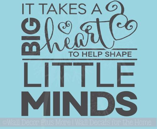 SALE Big Heart Shape Little Minds Teacher Wall Sticker Decal Quote