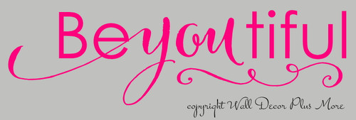 Be-you-tiful Lettering Girls Wall Sticker Decals Wall Words for Room Decor 23x6 Hot Pink SALE