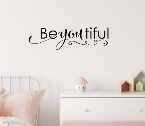 Be-you-tiful Lettering Girls Wall Sticker Decals Wall Words for Room Decor 36x10 Black SALE