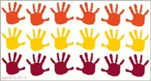 SALE Handprint Design Vinyl Stickers Wall Decals 18pc 3.5-Inch Red Yellow Orange